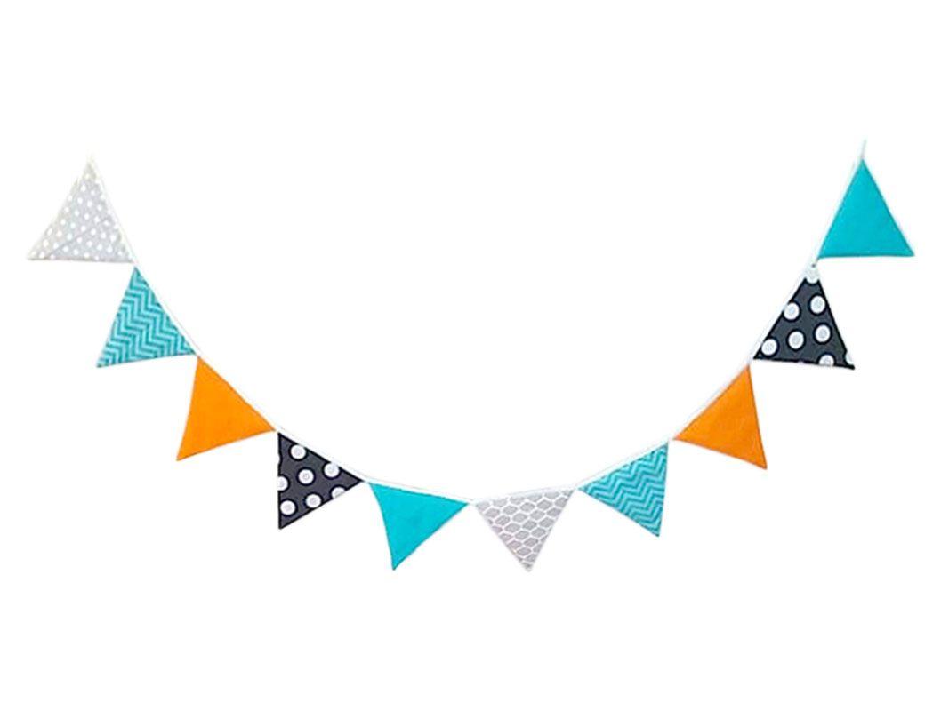 Varal de Bandeirinhas Mix de Estampas Tiffany e Laranja