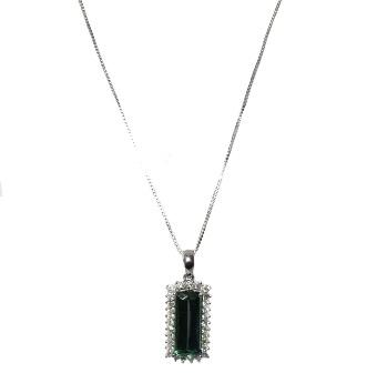 Colar e Pingente Ouro 18k Turmalina Verde com Diamantes  - Sancy