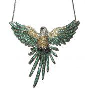 Colar Arara Ouro 18k Esmeraldas e diamantes