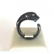 Anel Pantera Ouro 18k Rodio Negro e Diamantes Negros