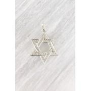 Pingente Estrela de David Diamantes Ouro 18k