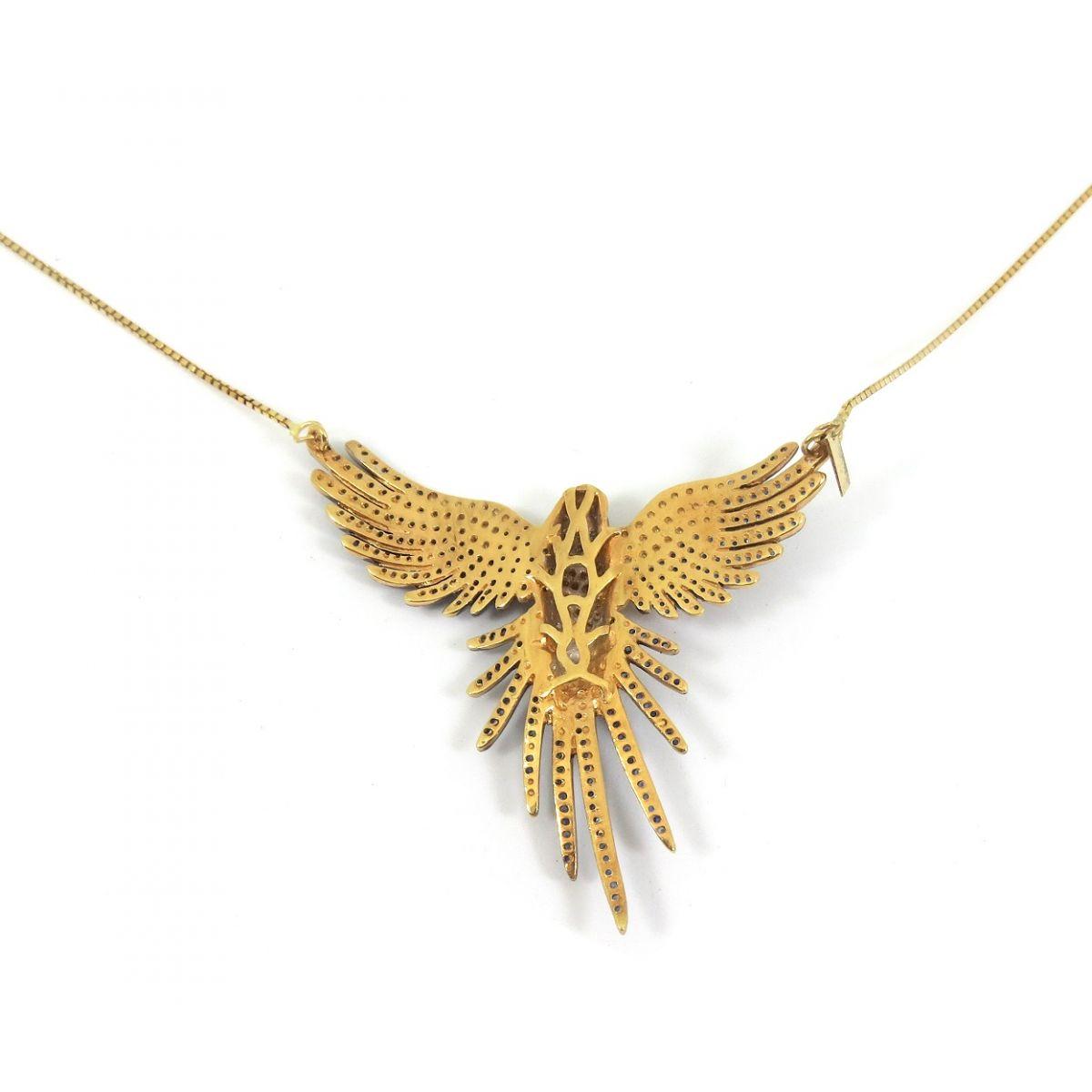 Colar Arara Ouro 18k Diamantes Citrinos e Safiras  - Sancy