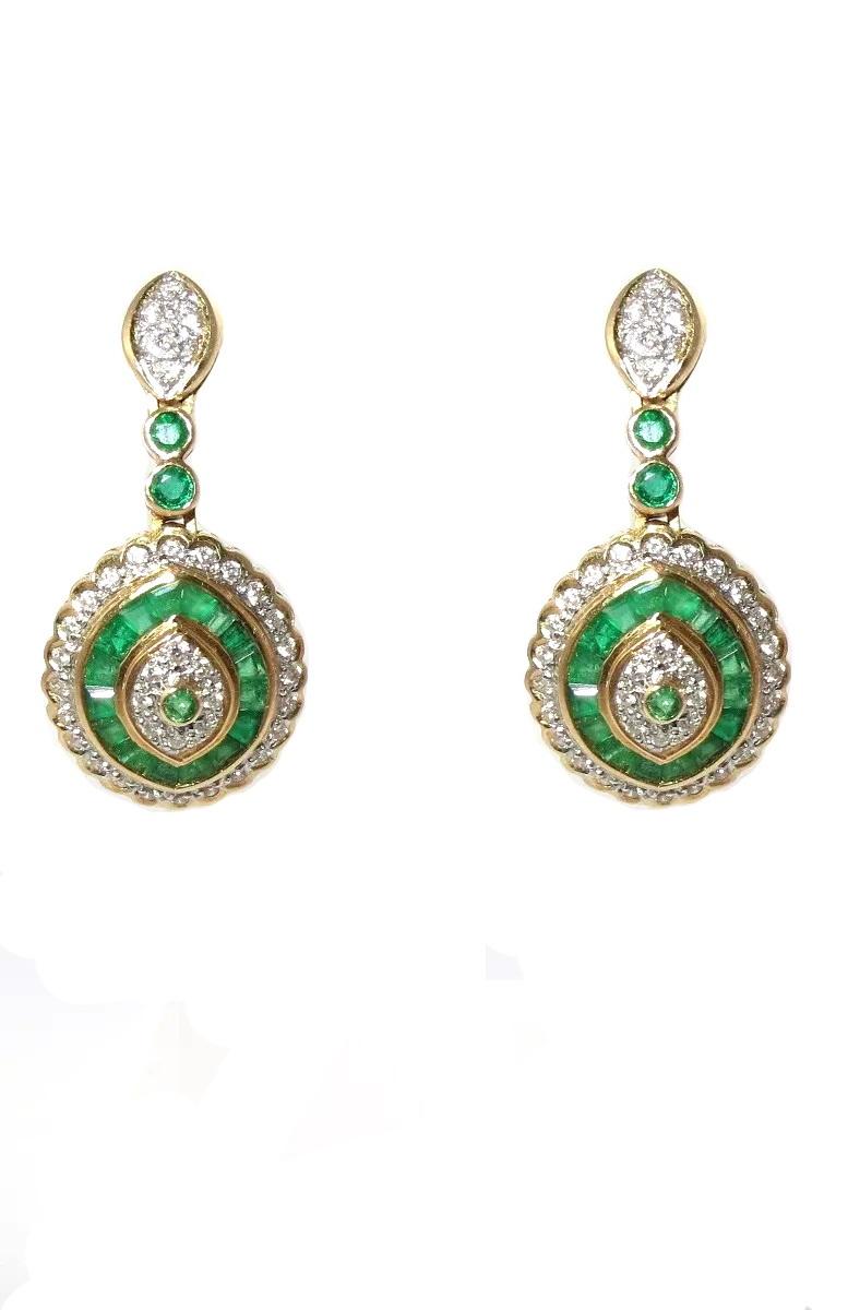 Brincos Ouro 18k Diamantes E Esmeraldas   - Sancy