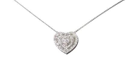 227bc9b4abc62 Colar e Pingente Coração Ouro 18k com Diamantes Trapézio - Sancy
