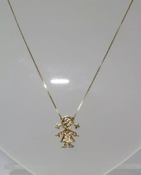 Colar Corrente Ouro 18k Menina Rubis E Diamantes   - Sancy