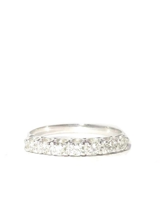Anel Meia Aliança Ouro 18k E Diamantes - 0.35 Quilates     - Sancy