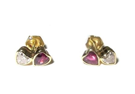 Brinco Ouro 18k Coração Diamantes Heart E Rubis  - Sancy