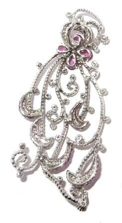 Pingente Ouro Branco 18k Diamantes E Safiras Rosas - Grande  - Sancy
