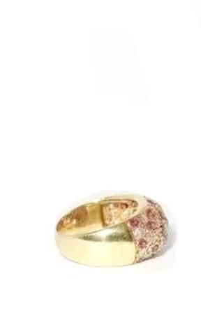 Anel Ouro 18k 1.00 Quilate De Diamantes E 28 Rubis  - Sancy