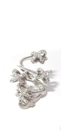 Anel Ouro Branco 18k com 125 pontos de Diamantes   - Sancy