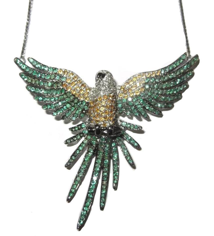 Colar Arara Ouro 18k Esmeraldas e diamantes  - Sancy