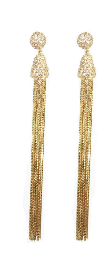 Brinco Ouro 18k Franjas Com 202 Diamantes 12 Cm/18.0 Gramas  - Sancy