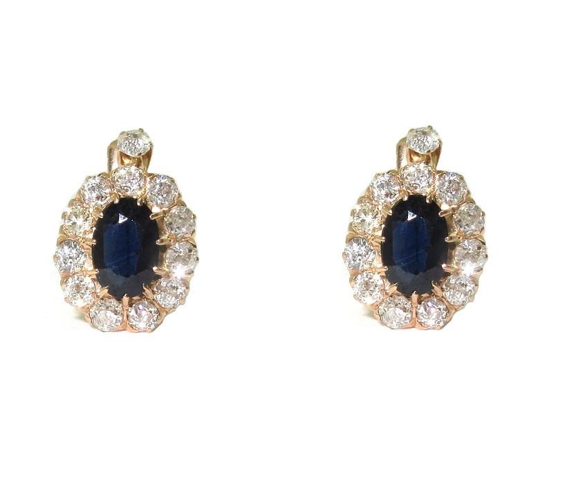 Brincos Ouro Rose 18k Safiras E 0,96 Quilates De Diamantes  - Sancy
