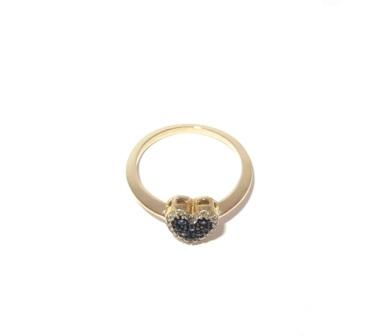 Anel Ouro 18k Coração Diamantes E Safiras   - Sancy