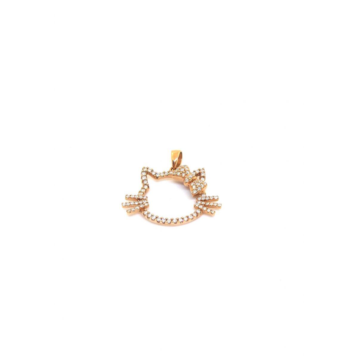 Pingente Ouro Rose 18k E Diamantes Hello Kitty  - Sancy