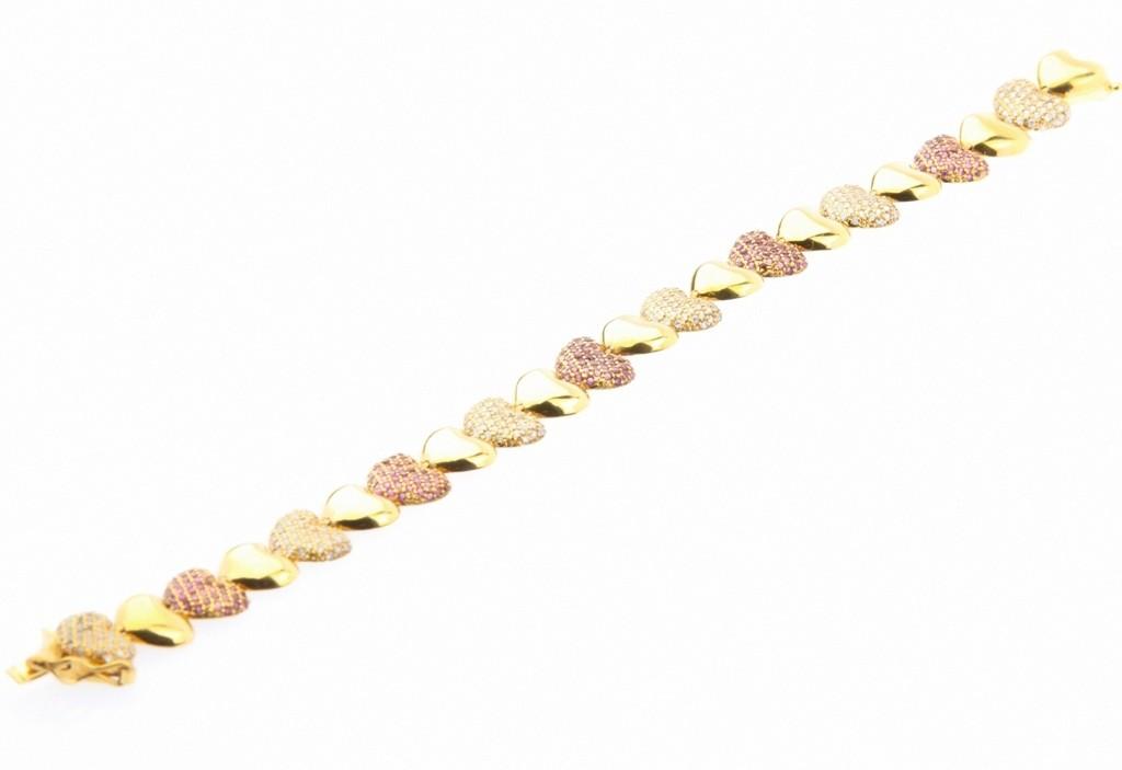 Pulseira Ouro 18k Coração de 46 pontos de Diamantes e 46 pontos de Rubis  - Sancy