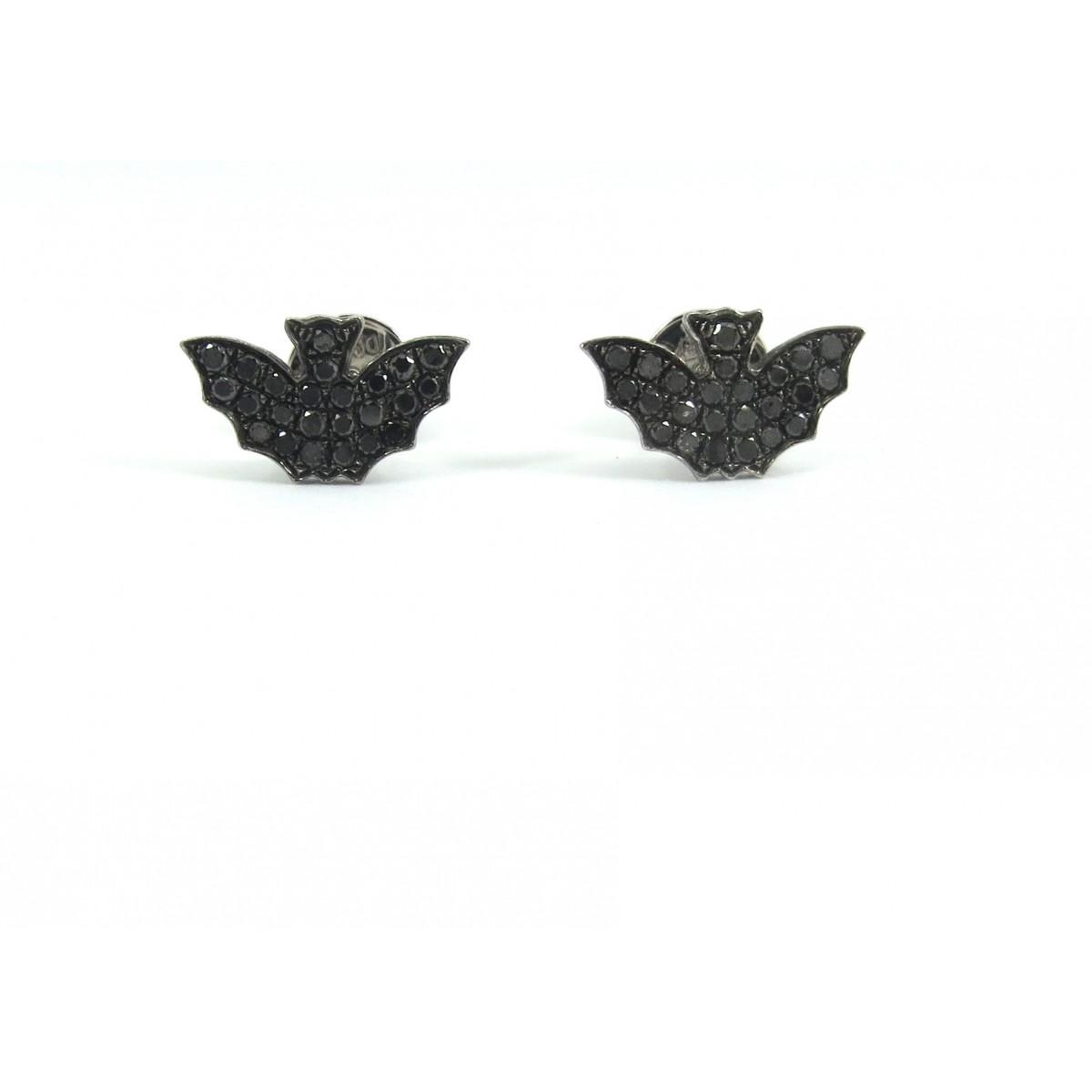Brinco Morcego Ouro Branco 18k e Diamantes Negros  - Sancy