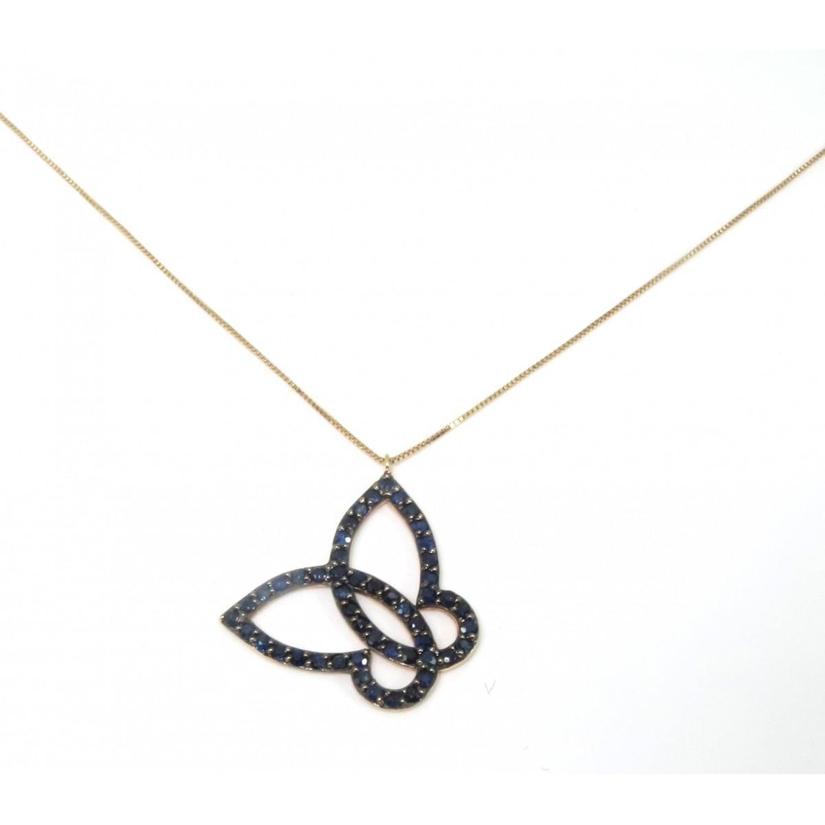 Colar Borboleta Ouro 18k com Safiras  - Sancy
