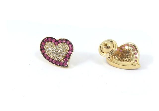 Brinco Coraçao Ouro 18k com Diamantes e Rubis  - Sancy