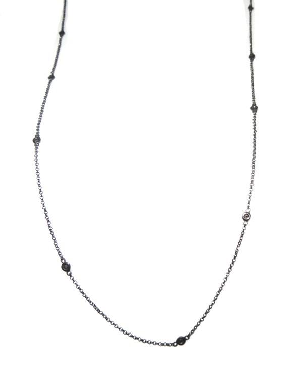 Colar Ouro 18k Rodio Negro e Diamantes Negros Pontos de Luz  82 cm  - Sancy