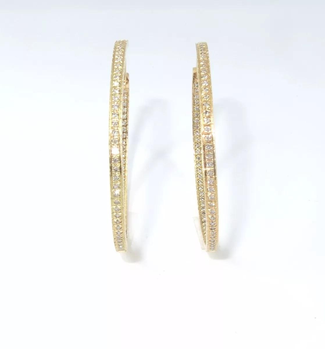 Brinco Argola Ouro 18k e 63 pontos de diamantes  - Sancy
