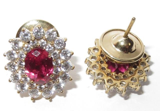Par de Brincos Ouro 18k Rubis e Diamantes  - Sancy