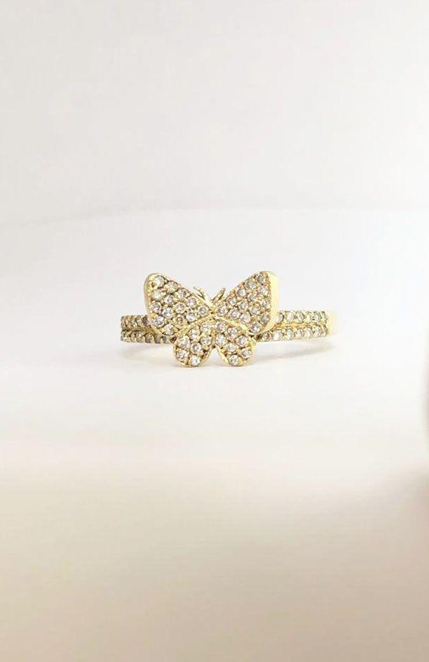 Anel Borboleta Ouro 18k e 70 pts de diamantes  - Sancy