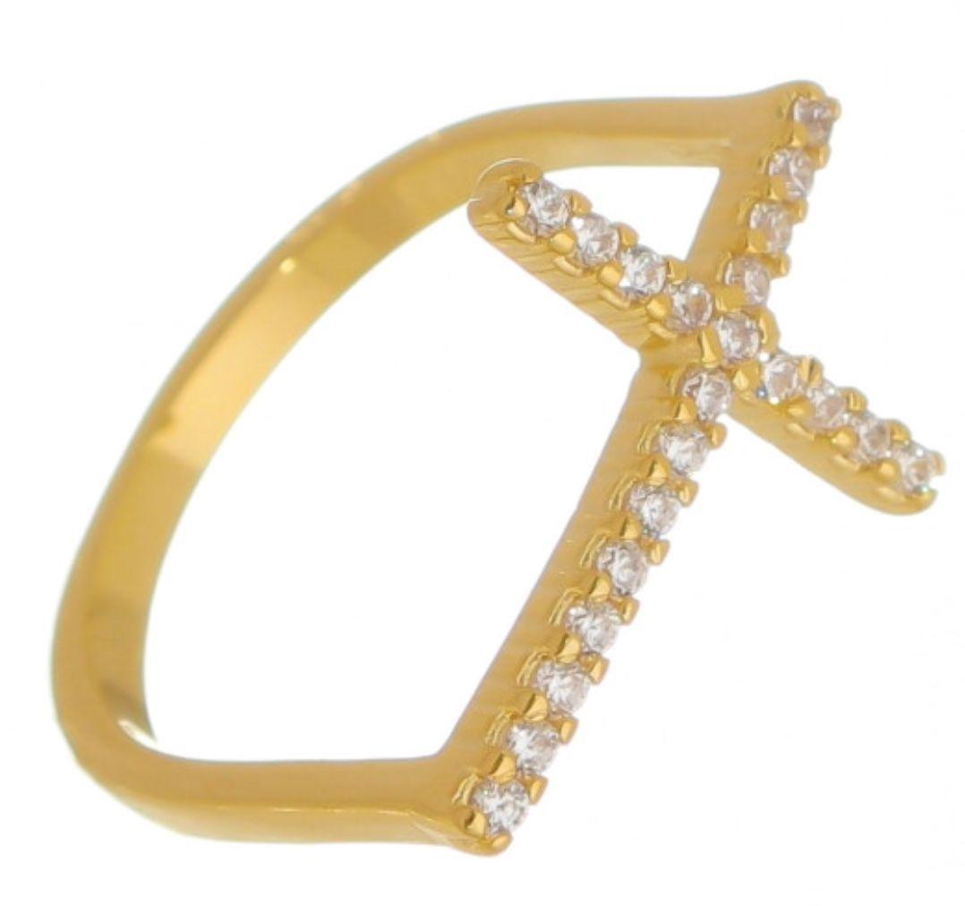 Anel Cruz Ouro 18k e Diamantes   - Sancy