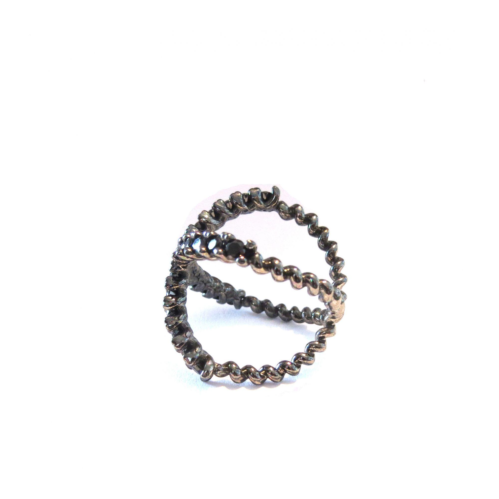 Anel Cruzado 125 pts de Diamantes Negros  - Sancy