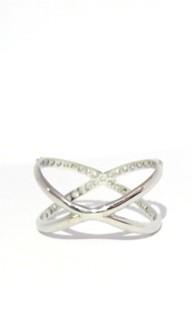 Anel Ouro 18k Cruzado X Com 39 pontos de Diamantes  - Sancy
