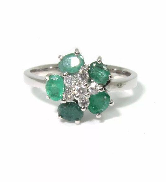 Anel Ouro 18k Flor de esmeraldas com Diamantes  - Sancy