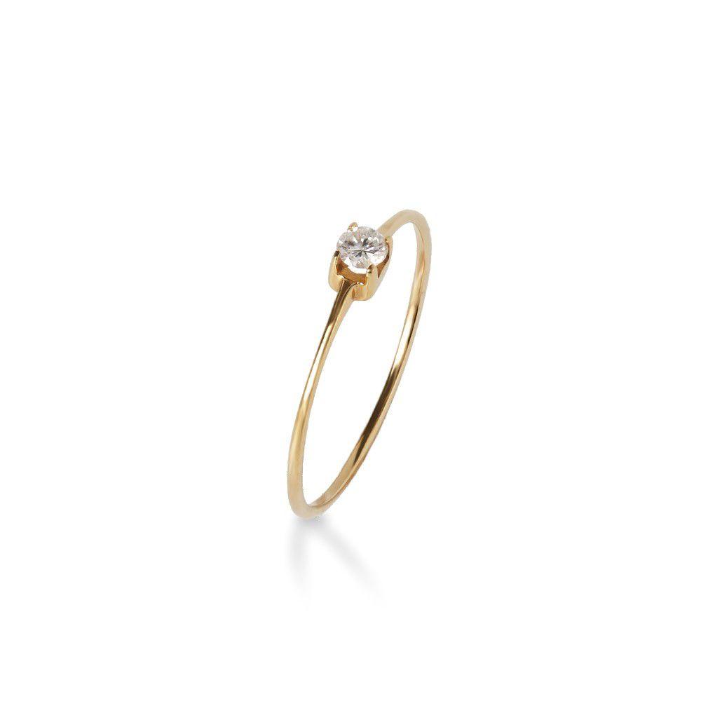 Anel  Ouro 18k Solitário diamante 10 Pontos  - Sancy