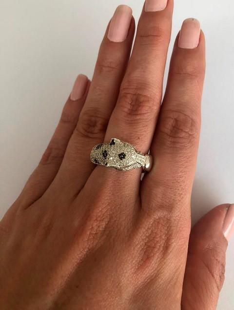 Anel Pantera ouro 18k Diamantes Brancos e Negros  - Sancy