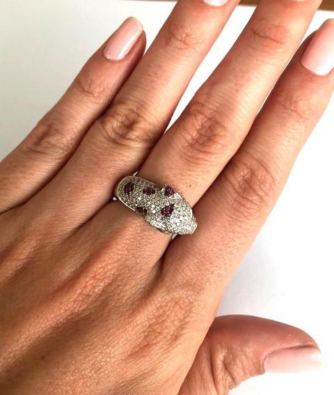 Anel Pantera Ouro 18k Diamantes e Rubis  - Sancy