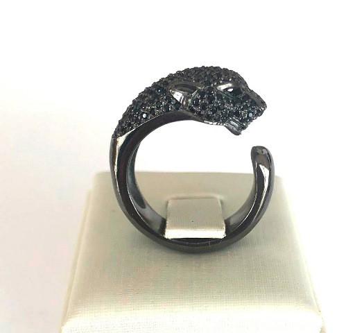 Anel Pantera Ouro 18k Rodio Negro e Diamantes Negros  - Sancy