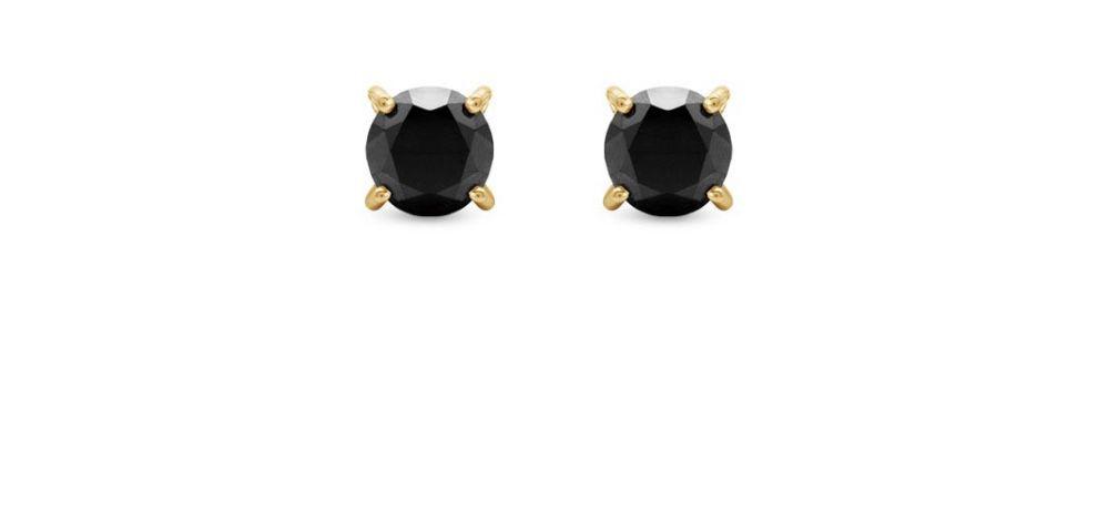 Brinco Ouro 18k e Diamantes Negros  - Sancy