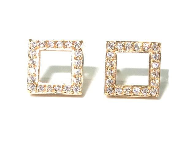 Brinco Quadrado de Ouro 18k e 40 pontos de Diamantes  - Sancy