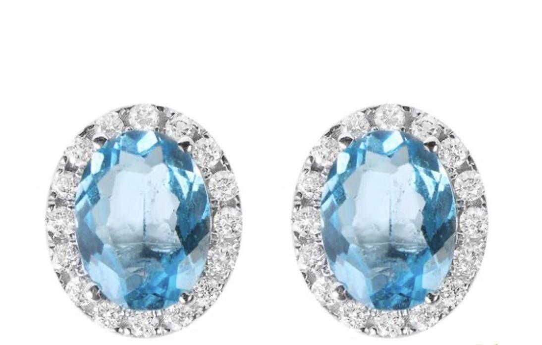 Brinco Topazio Com Diamantes Ouro 18k  - Sancy