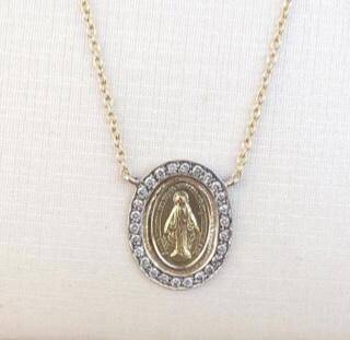 Medalha Nossa Senhora das Graças Ouro 18k e diamantes  - Sancy