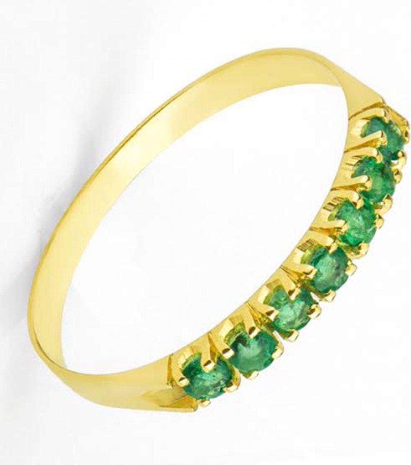 Meia Aliança de Ouro e Esmeraldas  - Sancy
