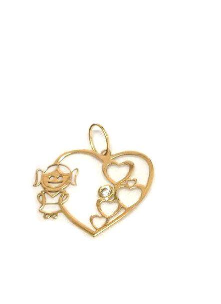Pingente Menina Ouro e Diamante  - Sancy