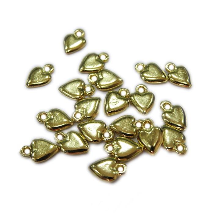Mini pingente dourado coração (10 unid.)- MPD002
