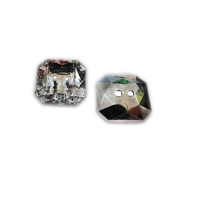 Botão de acrílico espelhado quadrado (10 unid.)- BOE005