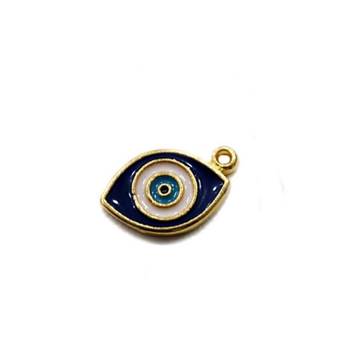 Pingente Olho grego dourado resinado puxado - PTD064