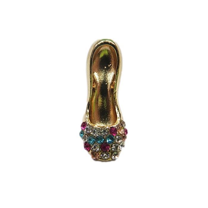 Piercing dourado sapato c/ strass colorido- PID094