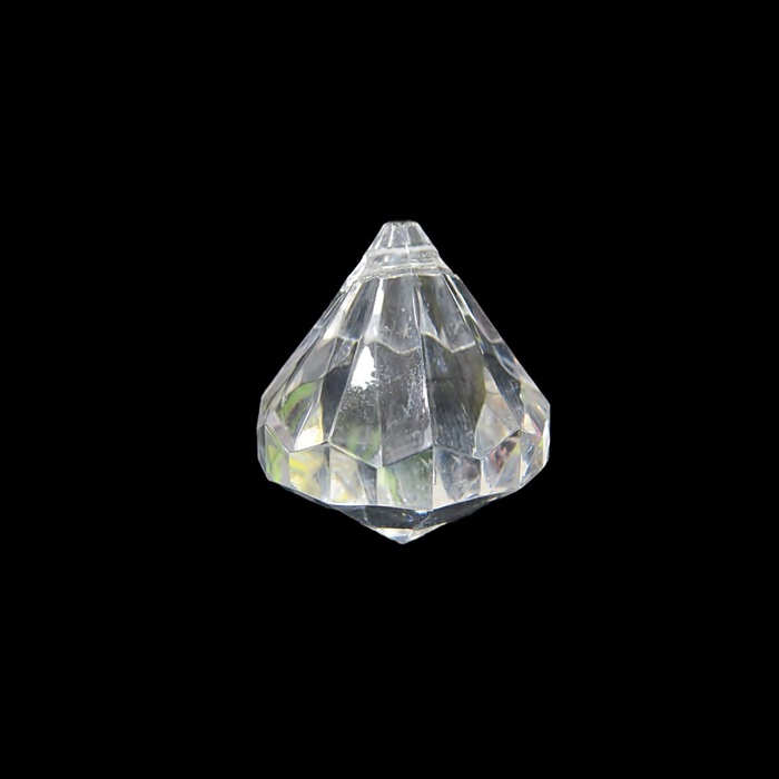 Pingente de acrilico diamante facetado M transparente (05 unid.)- PAC009