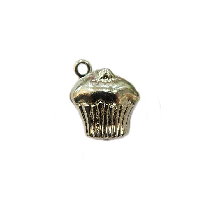 Pingente Cupcake níquel da Alice- PTD017