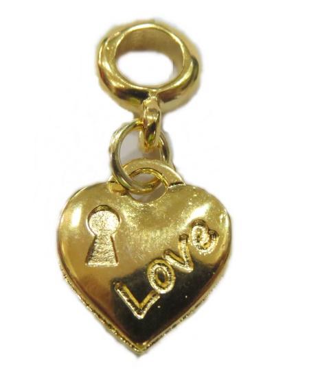 Berloque Dourado Pingente Love Bed117