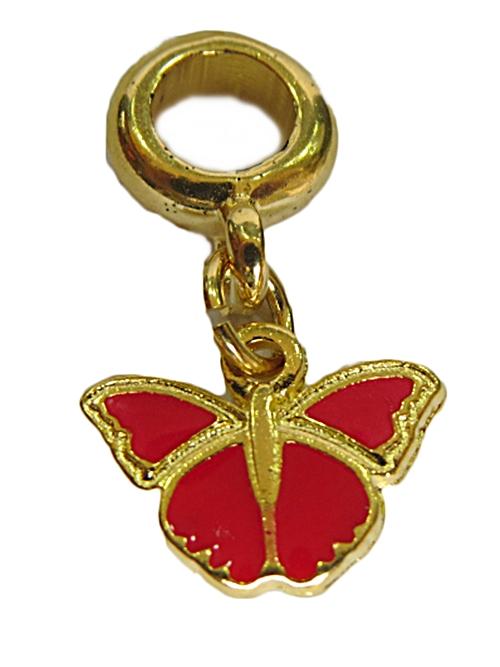 Berloque Dourado Ping. Borboleta Vermelha-BED155