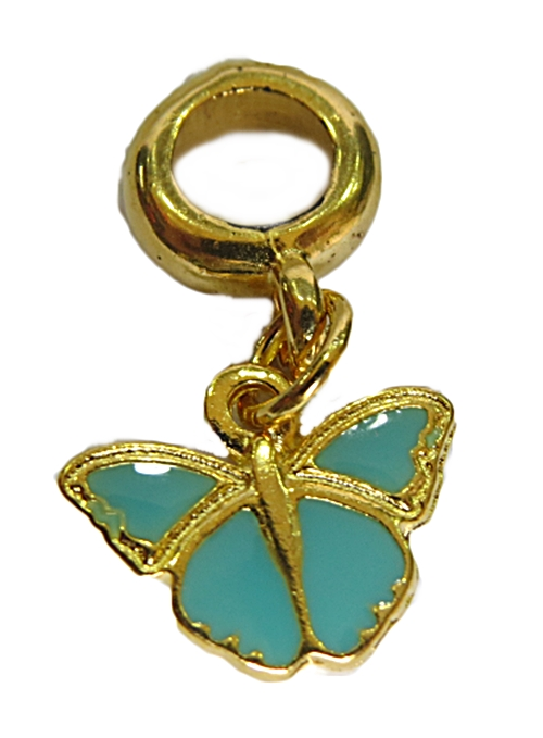 Berloque Dourado Ping. Borboleta Turquesa-BED157
